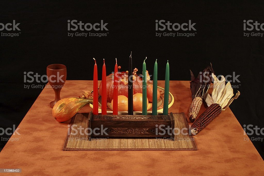 Kwanzaa Table Unlit Candles stock photo