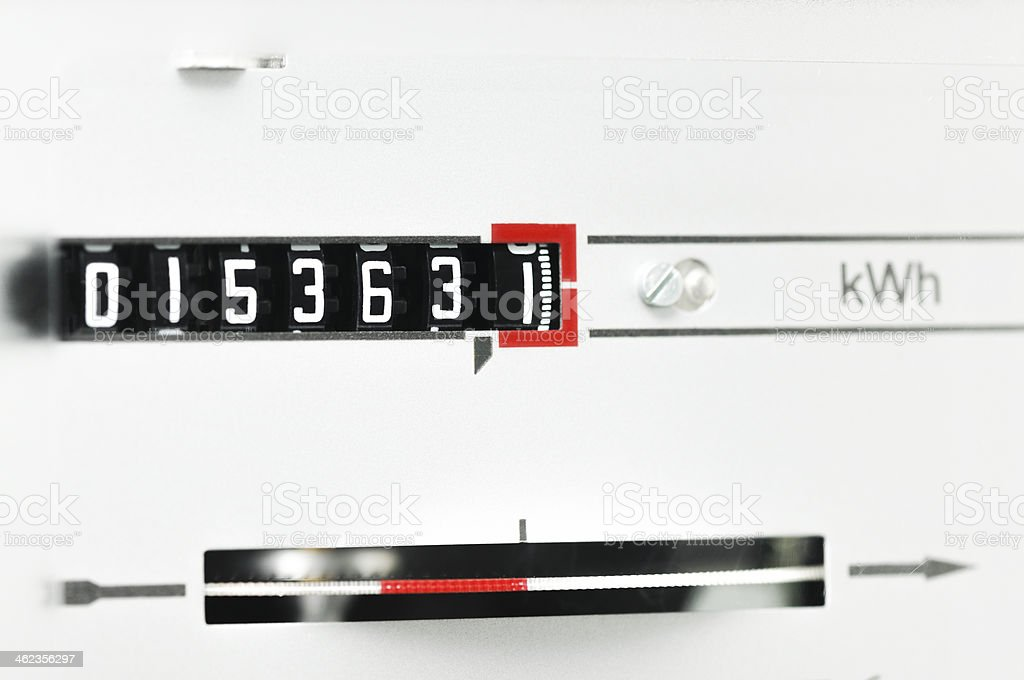 kWh counter stock photo