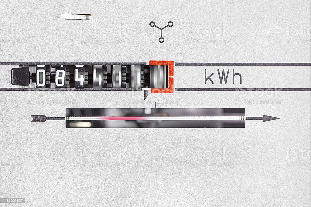 kWh dial - runing power measurement machine close-up royalty-free stock photo