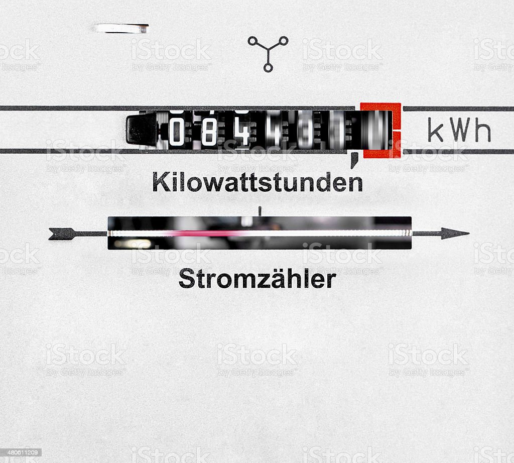 kWh dial - runing power measurement  Stromzähler royalty-free stock photo