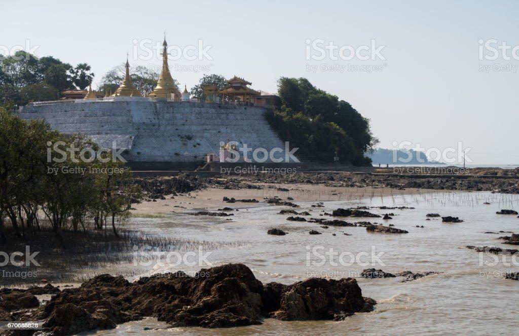 Kyaikkhami Pagoda, Myanmar stock photo