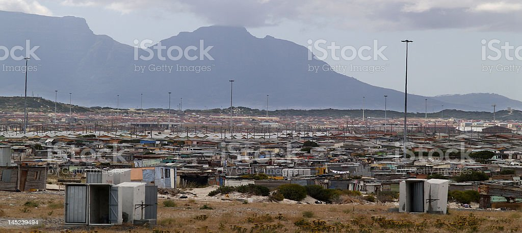 Kyalitsha Squatter camp under Table Mountain. stock photo