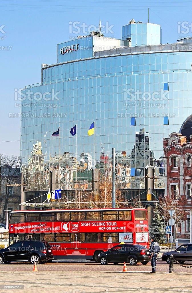 Kyiv Bus Touristic near Hyatt hotel stock photo