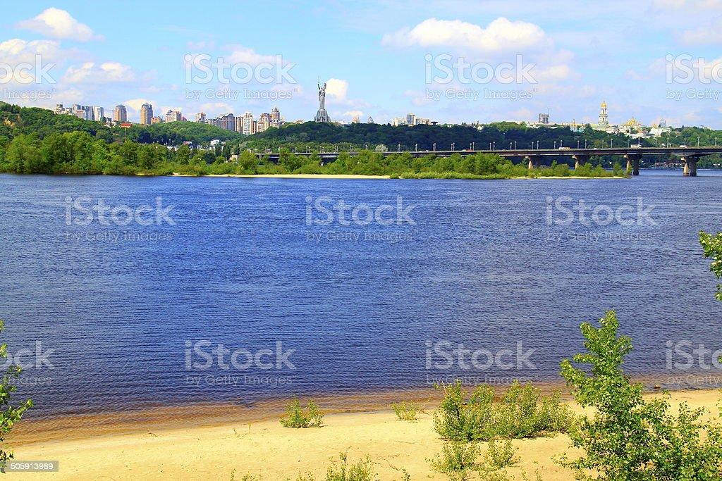 Kyiv cityscape panorama from Dnieper riverbank, Ukraine stock photo