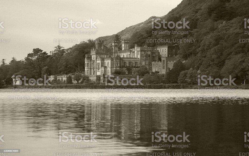Kylemore Abbey and the mirror lake, Ireland stock photo