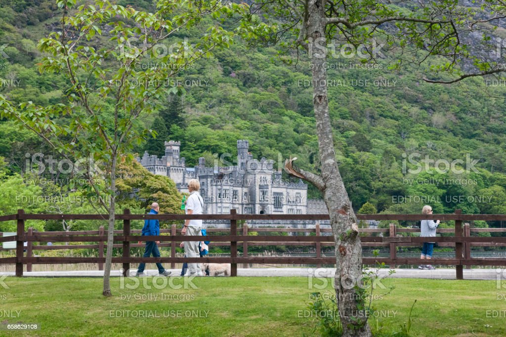Kylemore Abbey in Connemara, County Galway, Ireland. stock photo