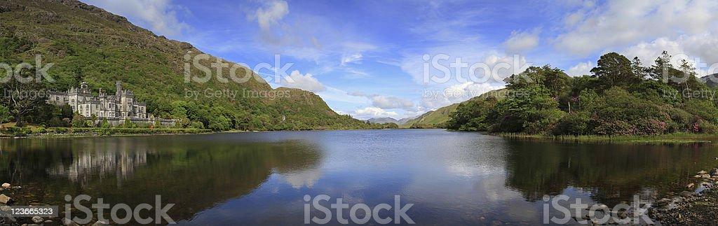 Kylemore Abbey in Connemara mountains panoramic royalty-free stock photo