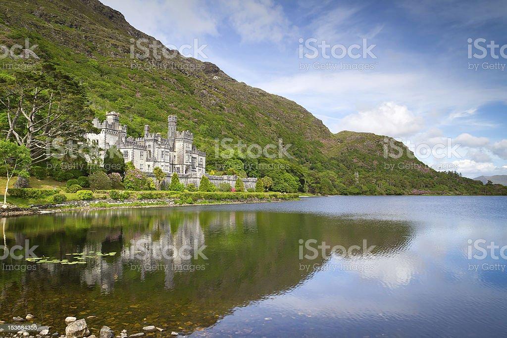 Kylemore Abbey in Connemara mountains stock photo