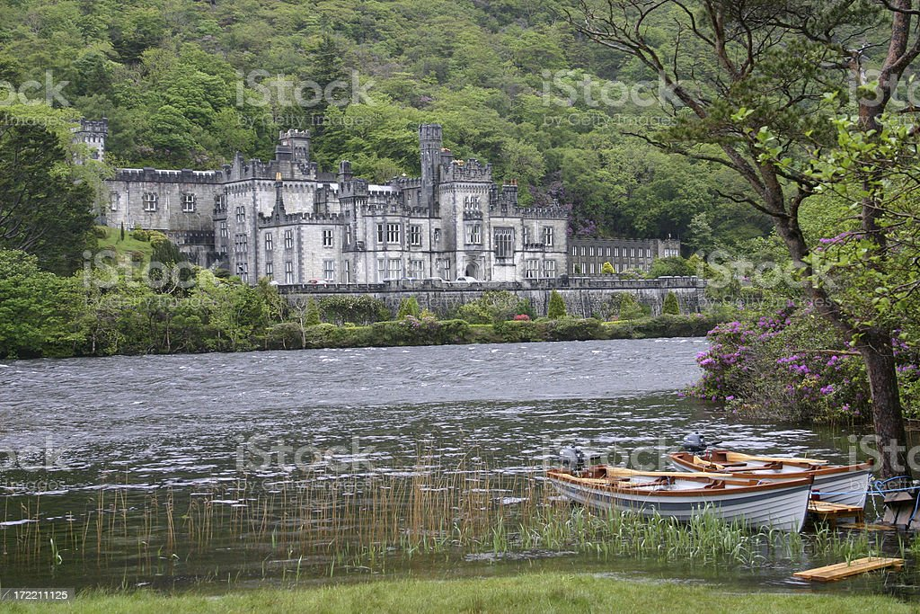 Kylemore Abbey on the lake, County Galway, Ireland stock photo