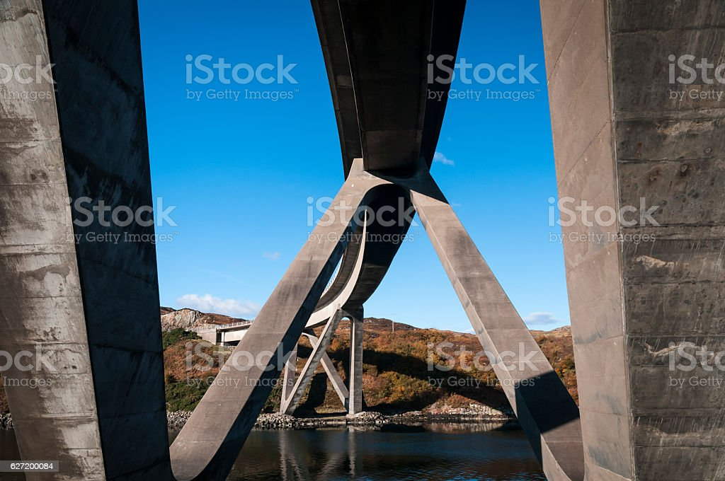 Kylesku Bridge underneath stock photo