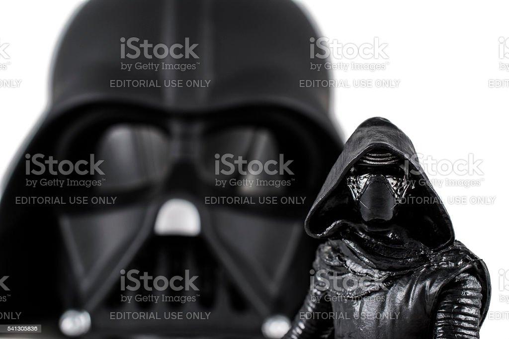 Kylo Ren and Darth Vader stock photo