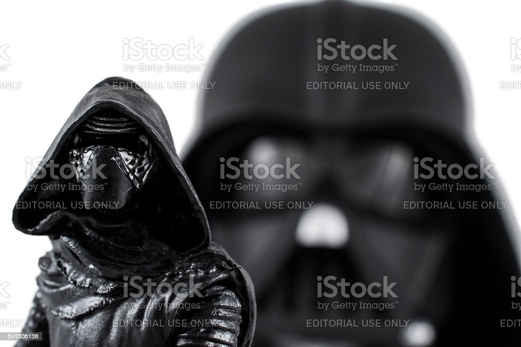 Kylo Ren portrait with Darth Vader on the back stock photo