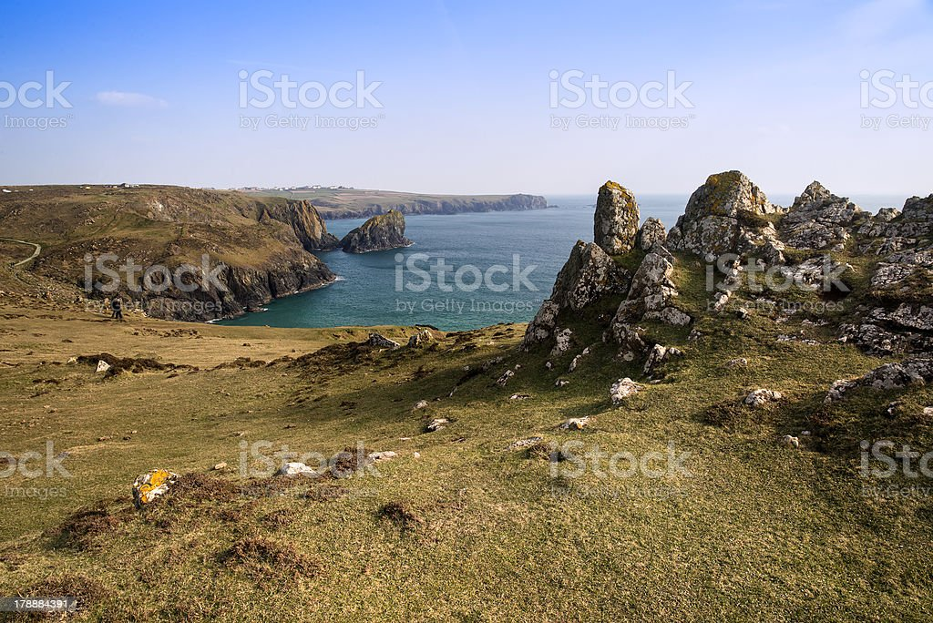 Kynance Cove cliffs landscape looking across bay royalty-free stock photo