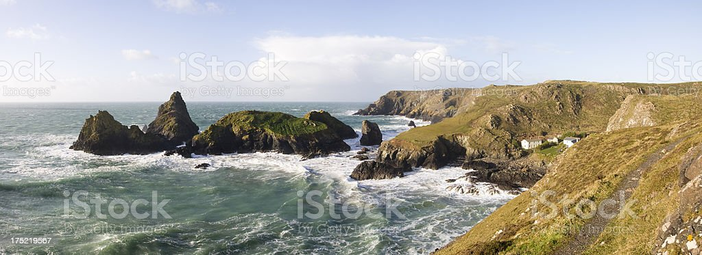 Kynance cove on the coast of Cornwall's Lizard peninsular royalty-free stock photo