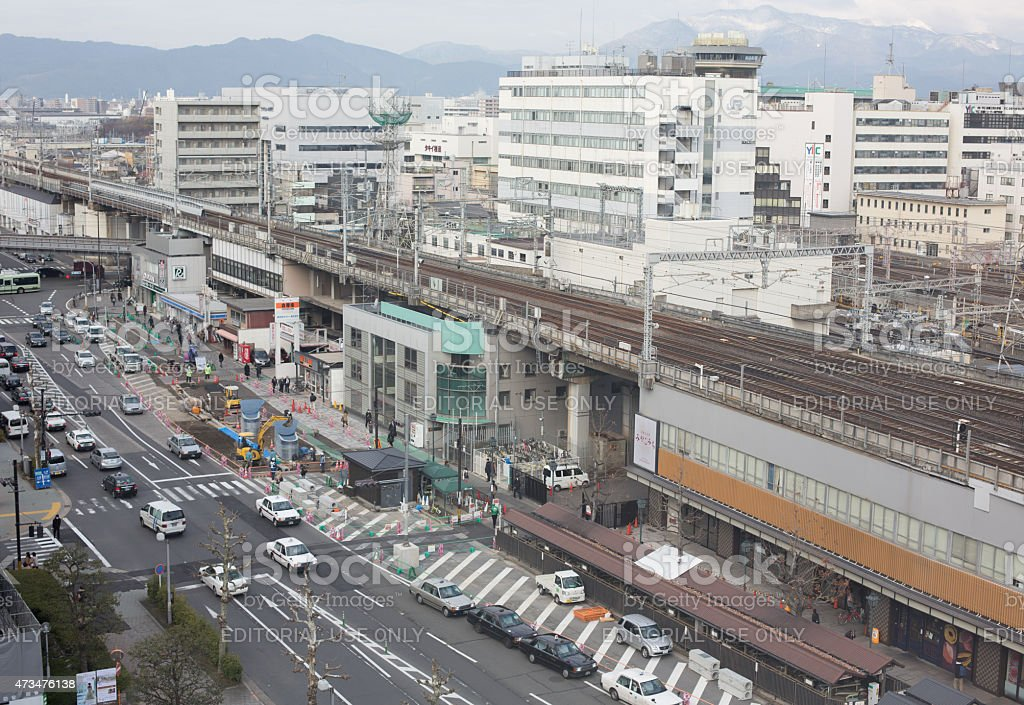 Kyoto cityscape and railway tracks of Kyoto train station, Japan. stock photo