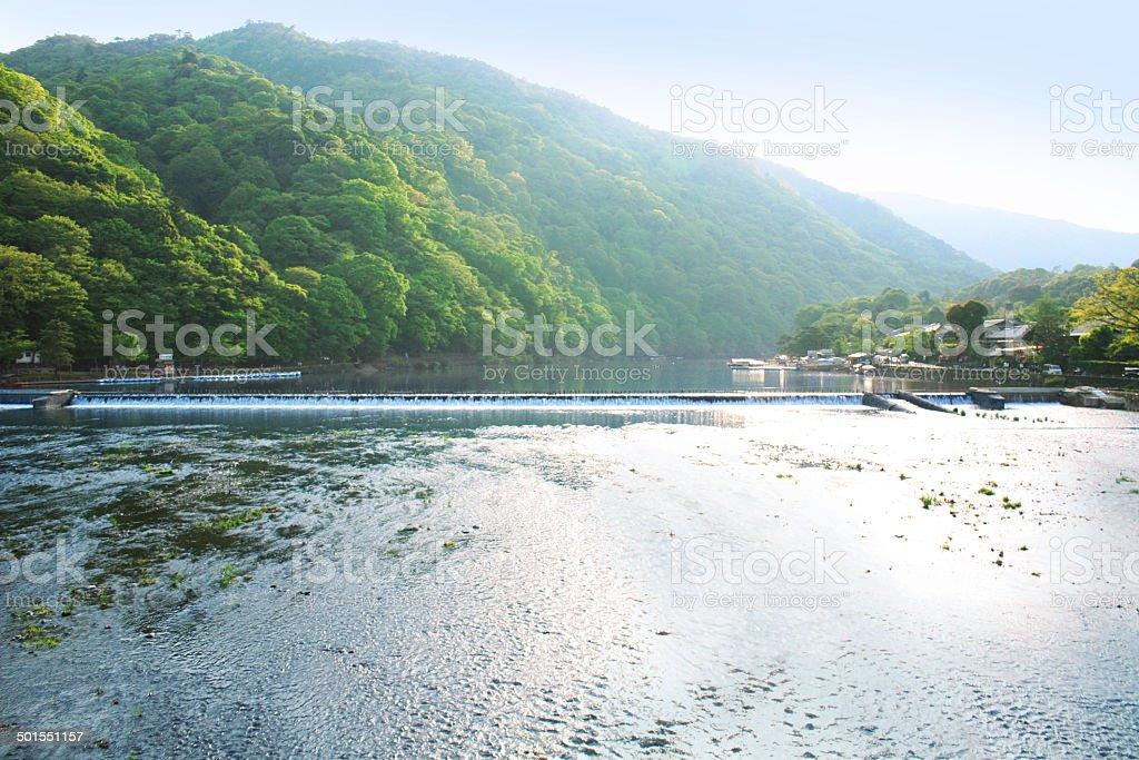 Kyoto, Japan. Arashiyama. from Togetsukyo bridge. stock photo
