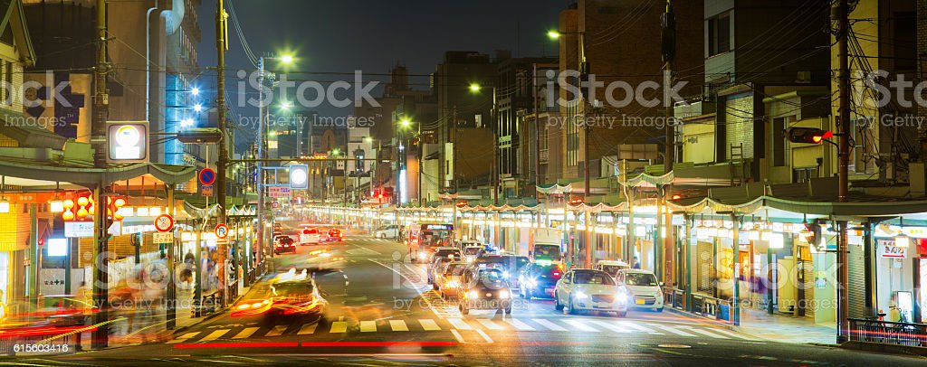Kyoto Japan Gojo street at night panorama stock photo