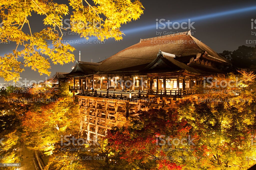 Kyoto, Kiyomizu-dera Temple which was performed illuminations of autumn leaves. stock photo