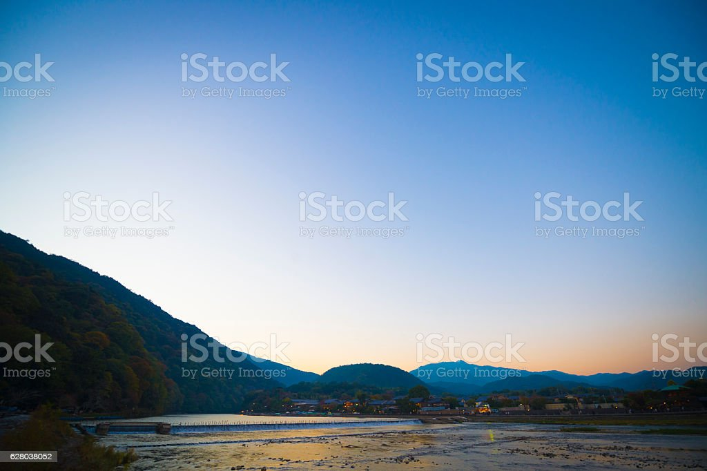 kyoto sagano arashiyama sunset stock photo