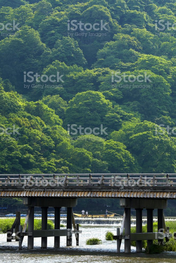 Kyoto togetsu-Kyo bridge stock photo
