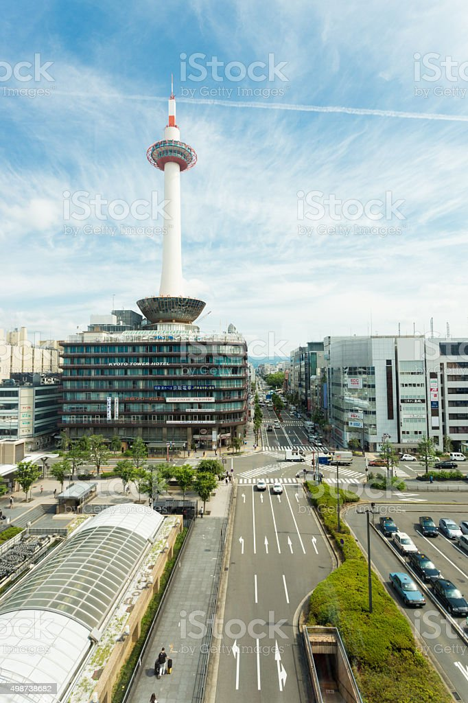 Kyoto Tower Streets Front Of JR Station Sunny stock photo
