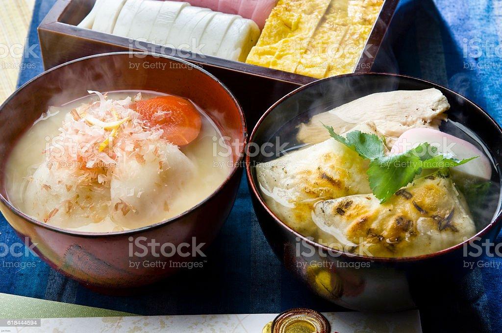 Kyoto-style rice cake and Edo Zoni stock photo