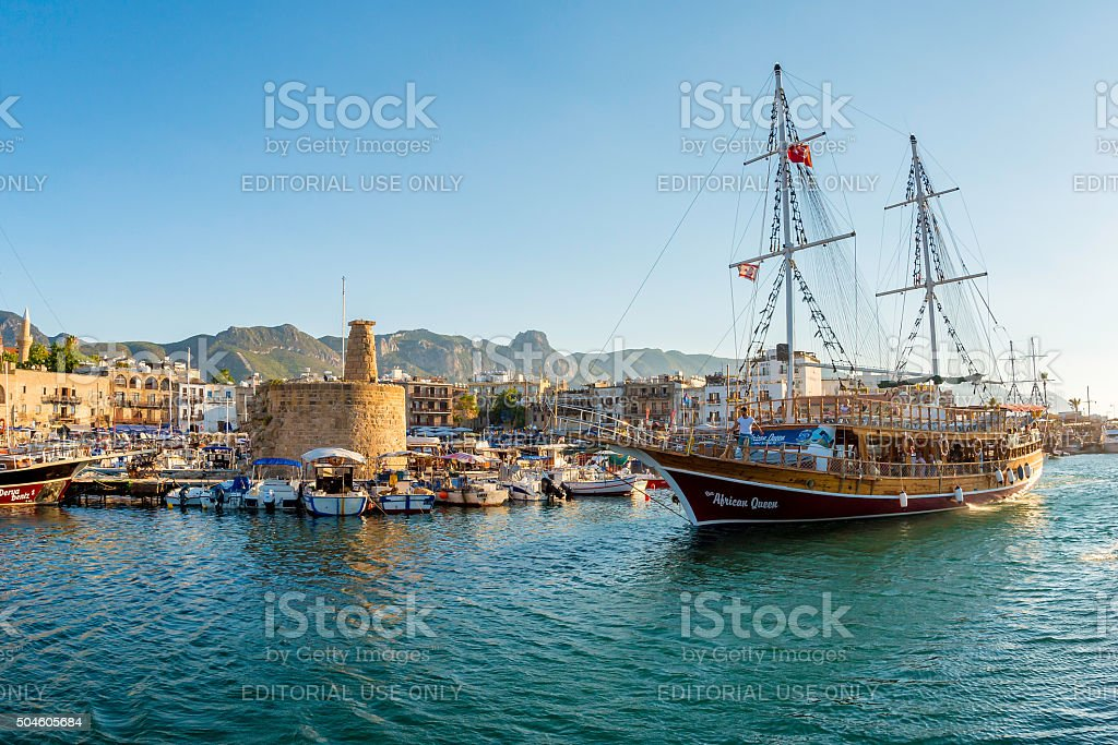 Kyrenia (Girne), Frigate in Kyrenia harbour on stock photo