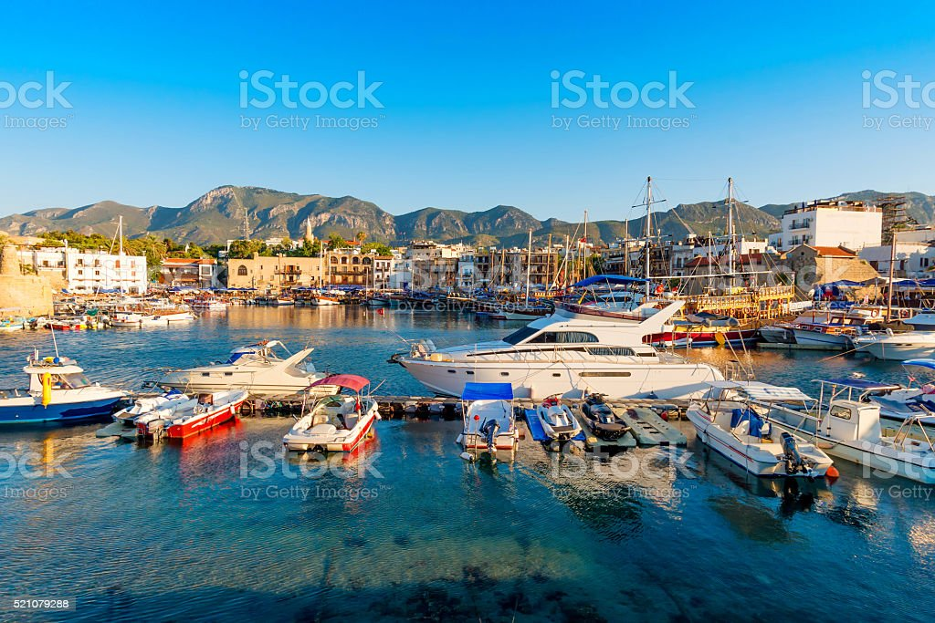 Kyrenia (Girne) harbor with castle on the background. Cyprus stock photo