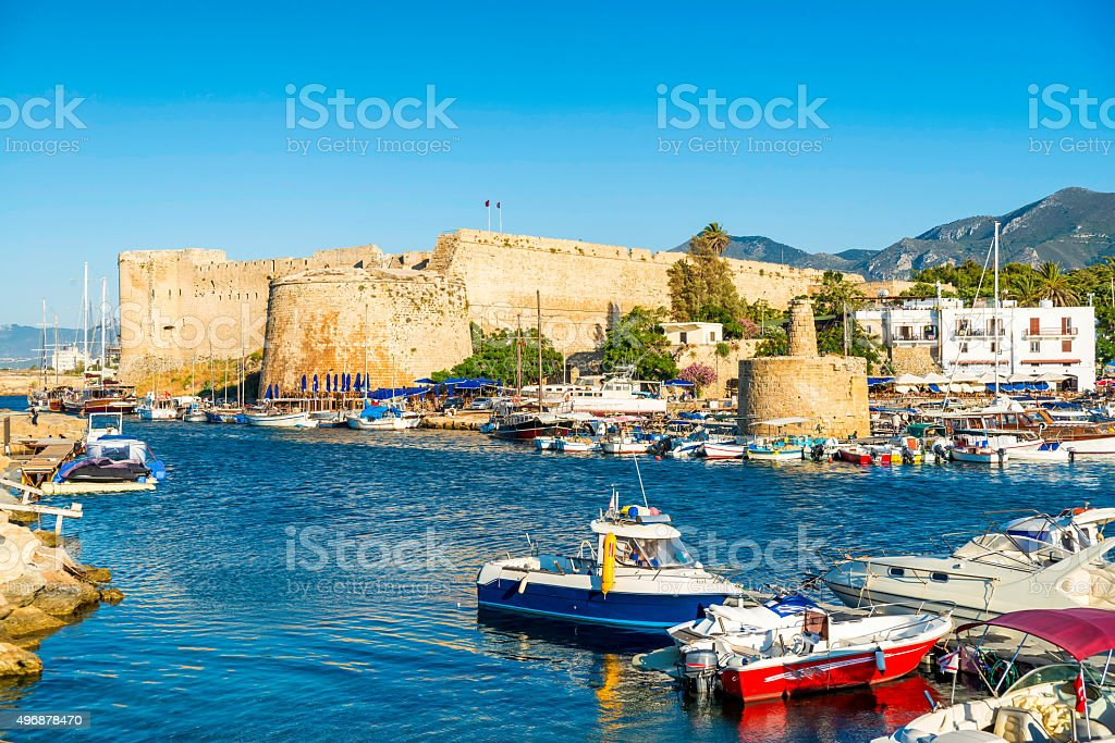 Kyrenia harbour with medieval castle on a background. Kyrenia, Cyprus stock photo