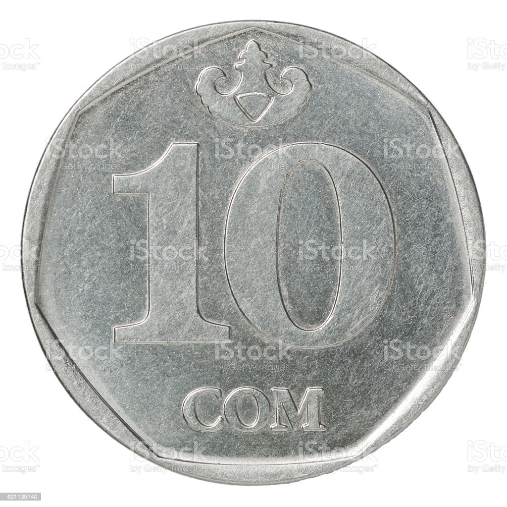Kyrgyz som coin ten stock photo