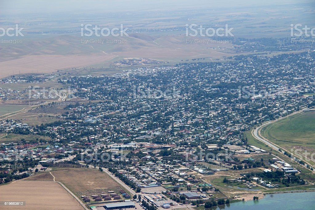 Kyrgyzstan: Landing at Bishkek stock photo
