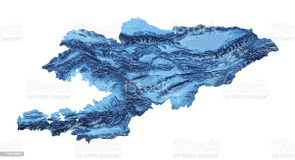 Kyrgyzstan Topographic Map Isolated stock photo
