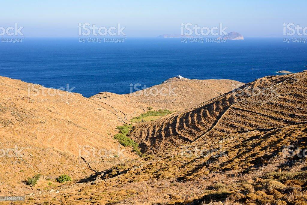 Kythnos Terraced hills stock photo