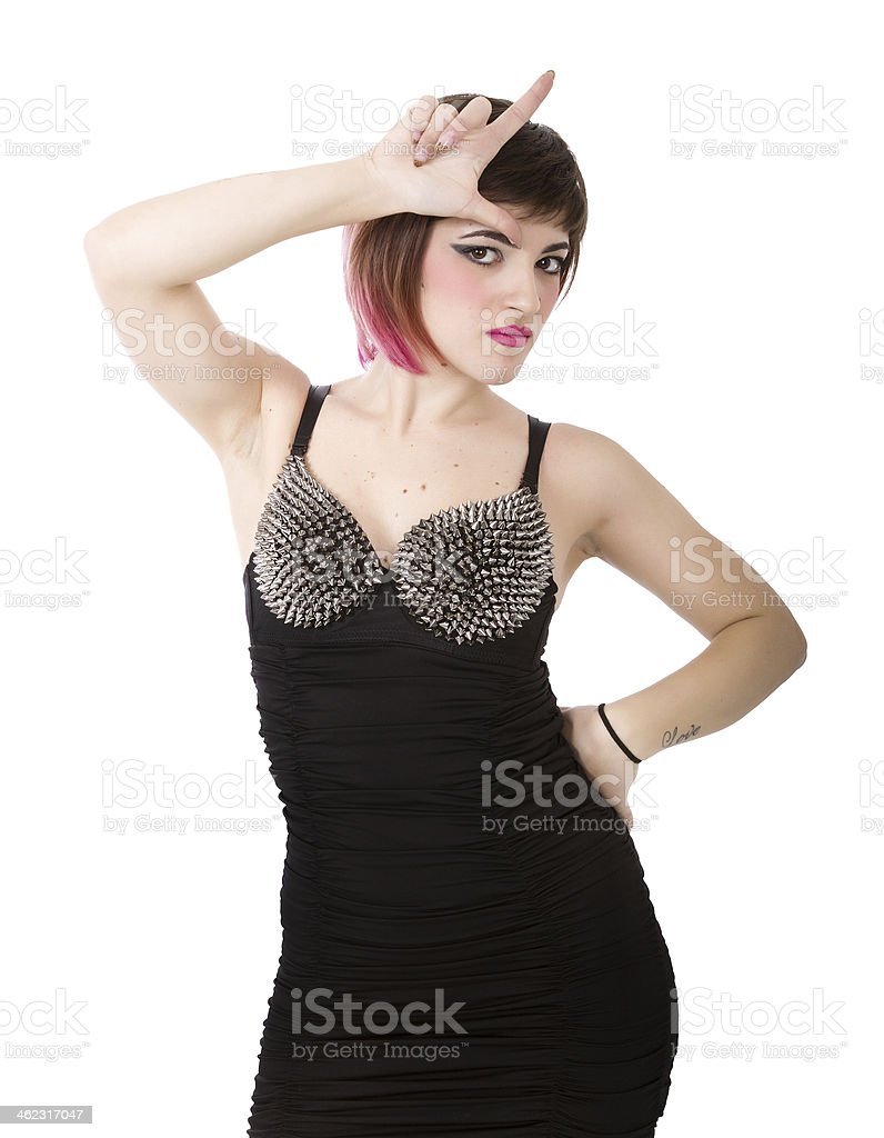 l for a loser rocker punk stock photo