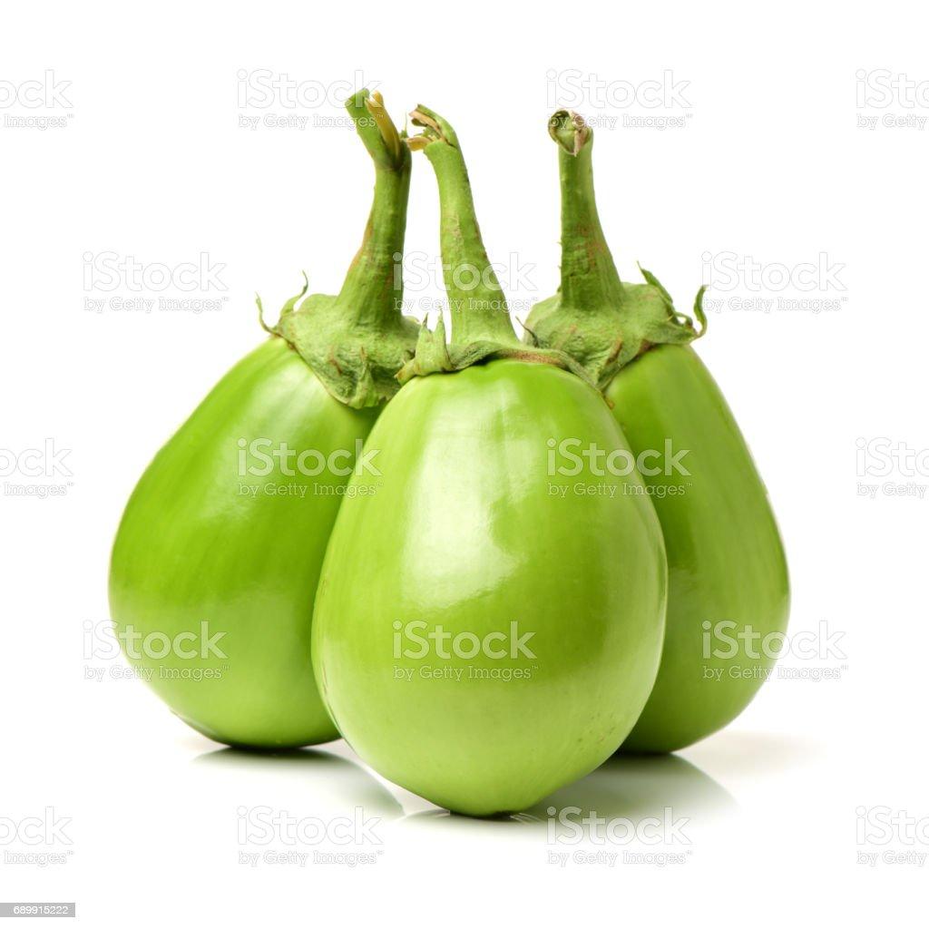 l green eggplant on white background stock photo