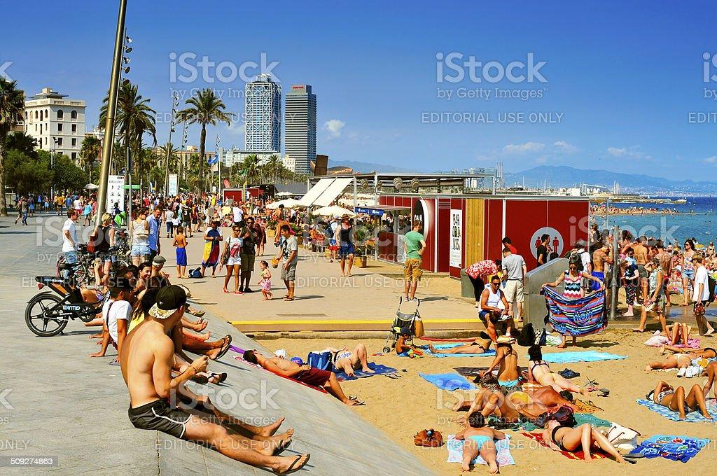 La Barceloneta Beach, in Barcelona, Spain stock photo