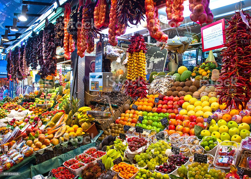 La Boqueria, fruits. World famous Barcelona market stock photo