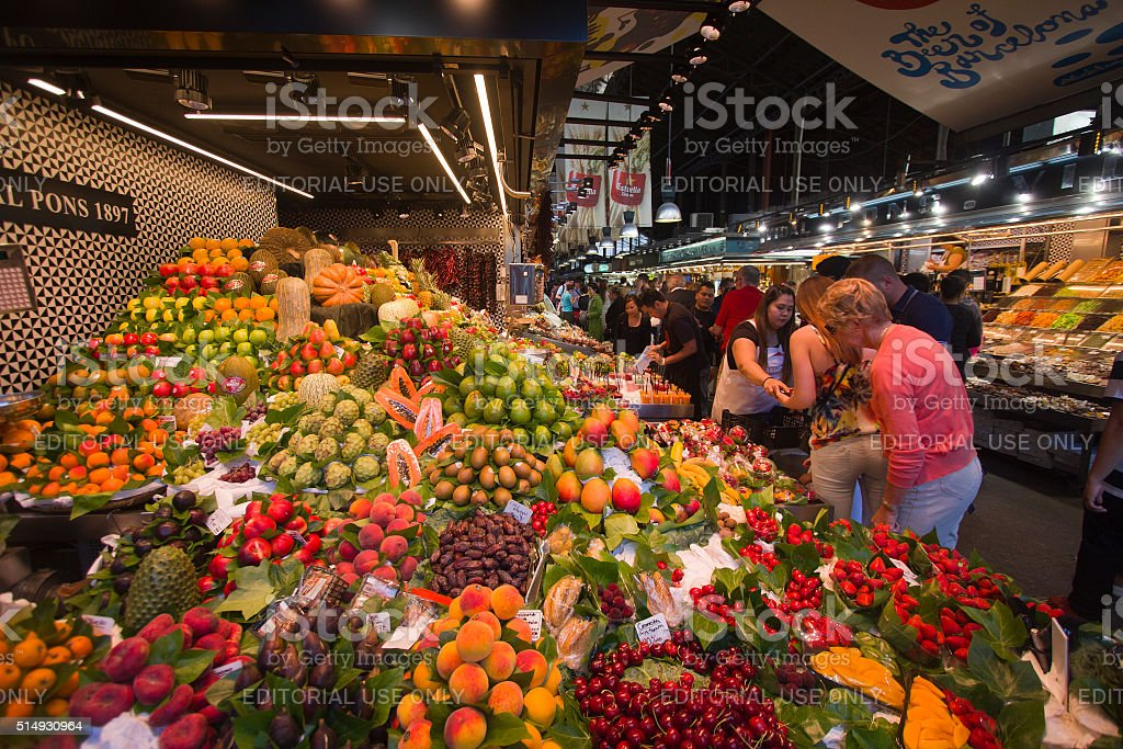 La Boqueria Market Barcelona stock photo