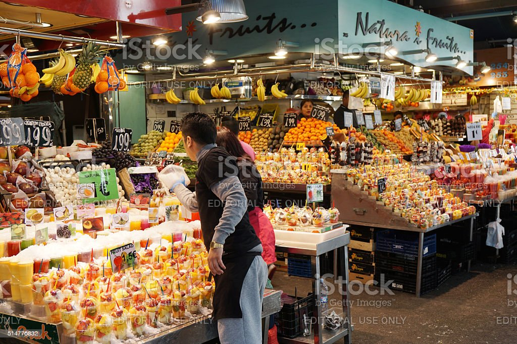 La Boqueria market in Barcelona stock photo