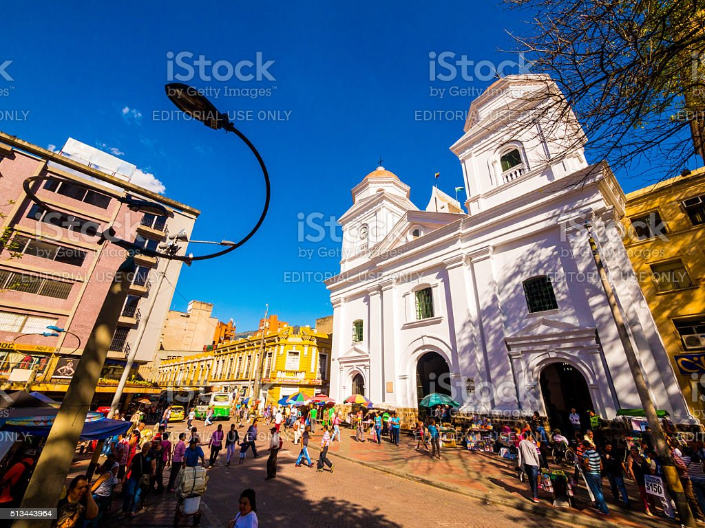 La Candelaria Church in Medellin, Colombia stock photo