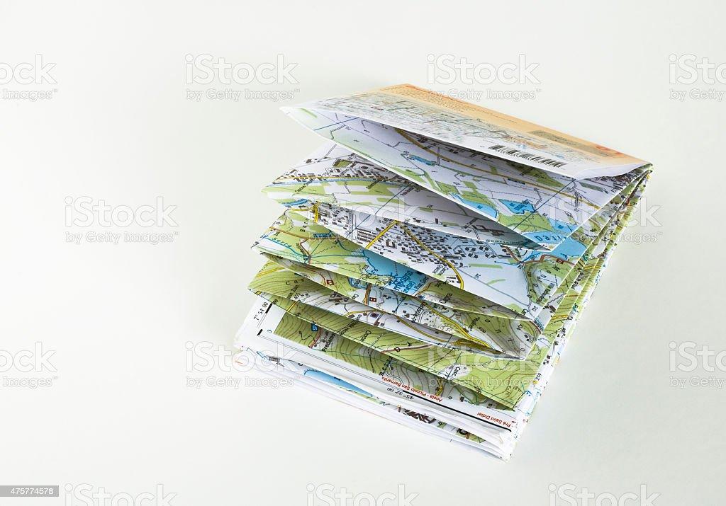 la carta stradale piegata stock photo