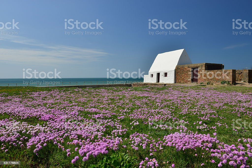La Caumine Guardhouse, St.Ouen, Jersey, U.K. stock photo