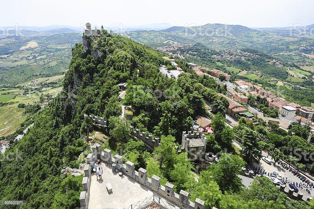 La Cesta fortless on Borgo Maggiore, San Marino stock photo