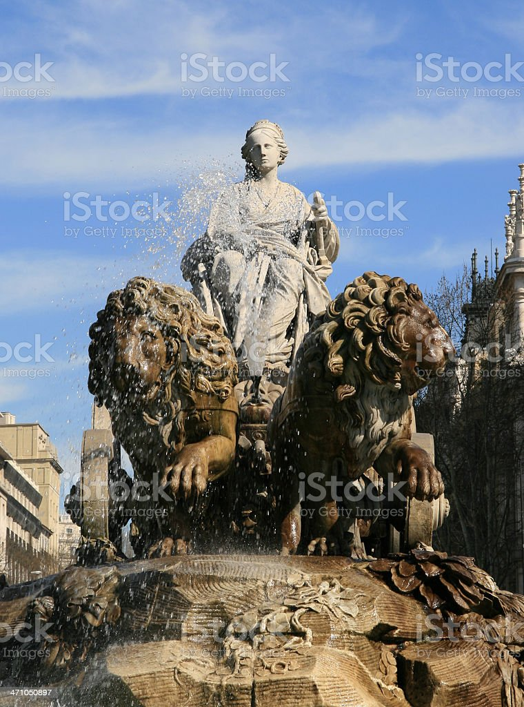 'La Cibeles' Fountain in Madrid (no polarized) stock photo