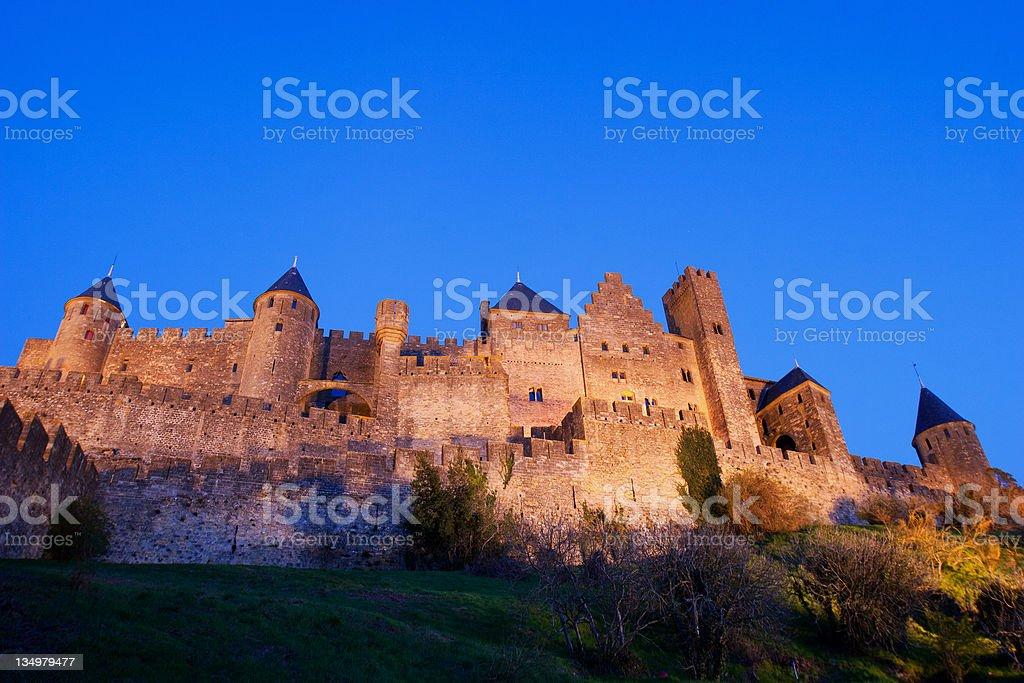 La Cit? on the evening, Carcassonne stock photo