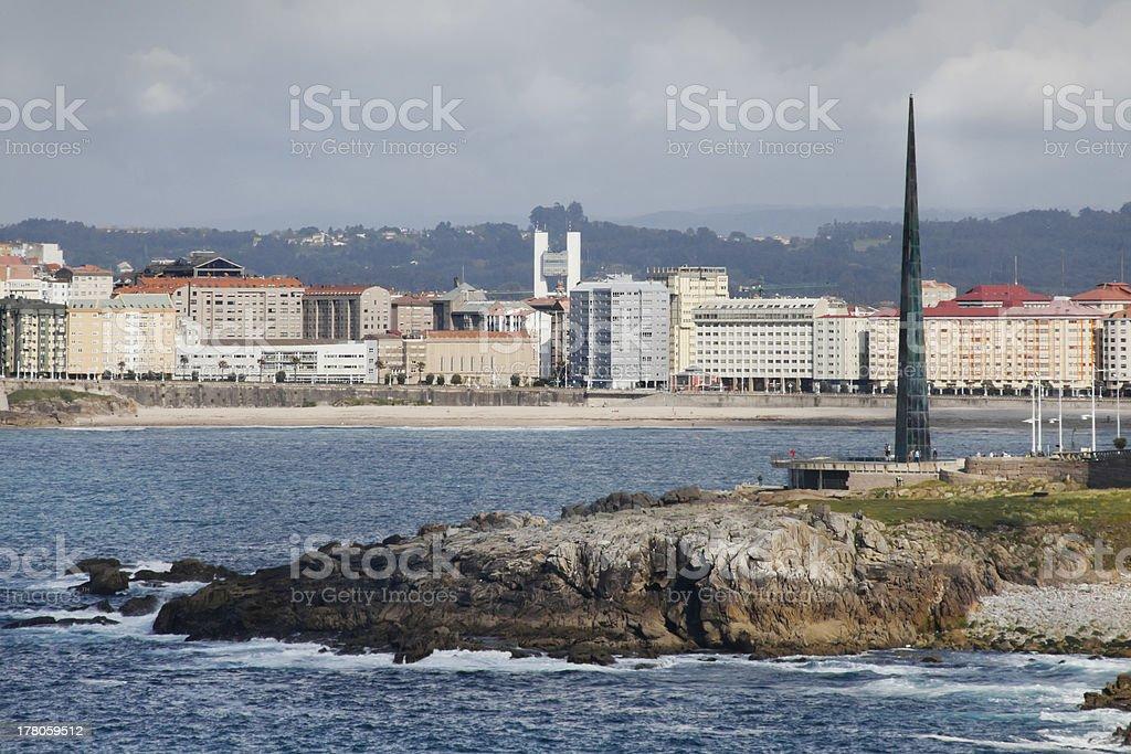 La Coruña city skyline stock photo