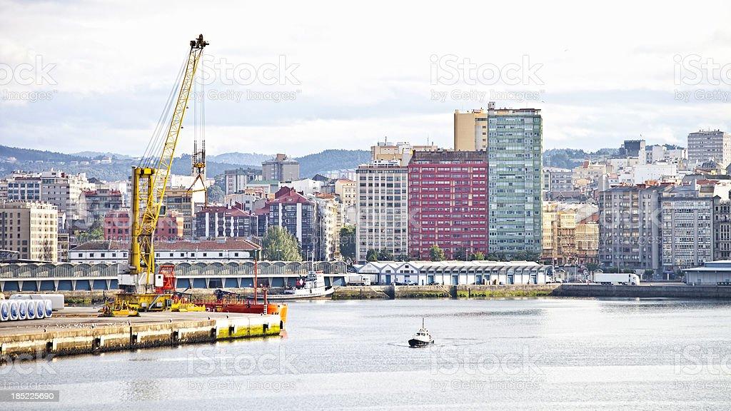 La Coruna port view. stock photo