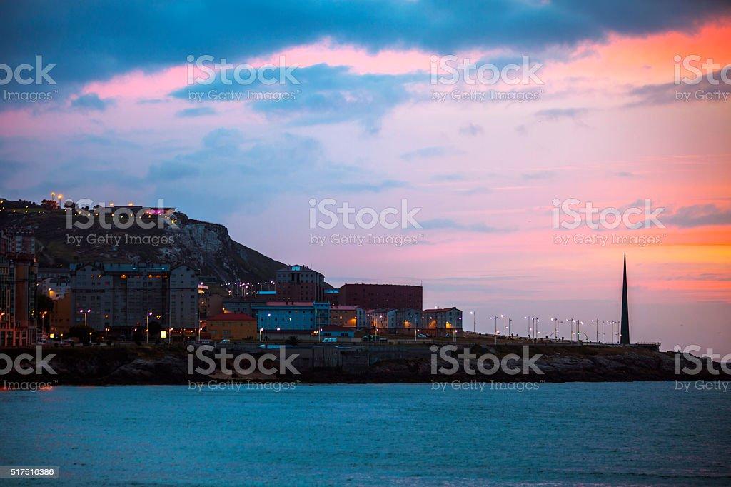 La Coruna sunset. Galicia, Spain. stock photo