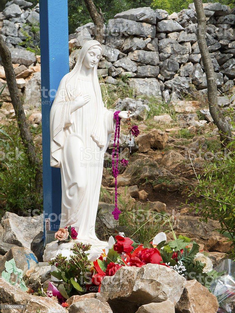 La croix bleue de Medjugorje stock photo