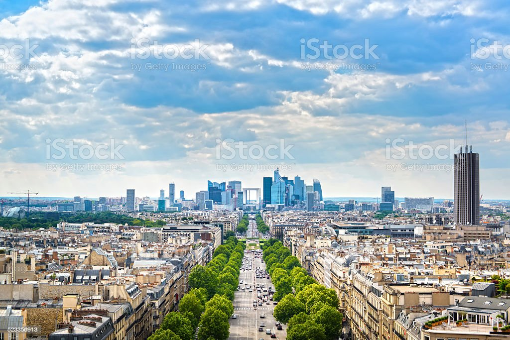La Defense business area, Grande Armee avenue. Paris, France stock photo